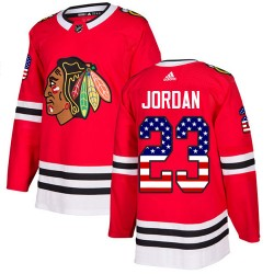 Michael Jordan Chicago Blackhawks Men's Adidas Authentic Red USA Flag Fashion Jersey