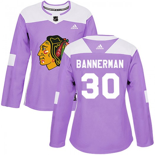 Murray Bannerman Chicago Blackhawks Women's Adidas Authentic Purple Fights Cancer Practice Jersey