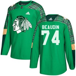 Nicolas Beaudin Chicago Blackhawks Men's Adidas Authentic Green ized St. Patrick's Day Practice Jersey