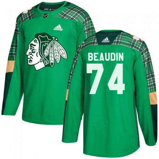 Nicolas Beaudin Chicago Blackhawks Youth Adidas Authentic Green ized St. Patrick's Day Practice Jersey