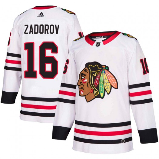 Nikita Zadorov Chicago Blackhawks Men's Adidas Authentic White Away Jersey
