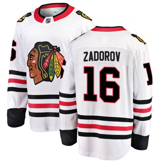 Nikita Zadorov Chicago Blackhawks Men's Fanatics Branded White Breakaway Away Jersey
