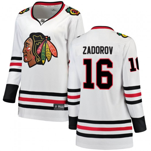 Nikita Zadorov Chicago Blackhawks Women's Fanatics Branded White Breakaway Away Jersey