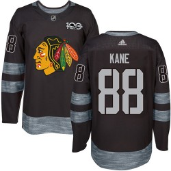 Patrick Kane Chicago Blackhawks Men's Adidas Authentic Black 1917-2017 100th Anniversary Jersey