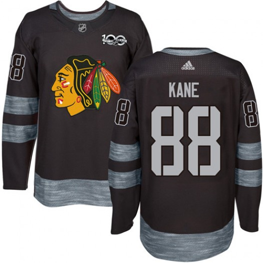 Patrick Kane Chicago Blackhawks Men's Adidas Authentic Black 1917-2017 100th Anniversary Jersey