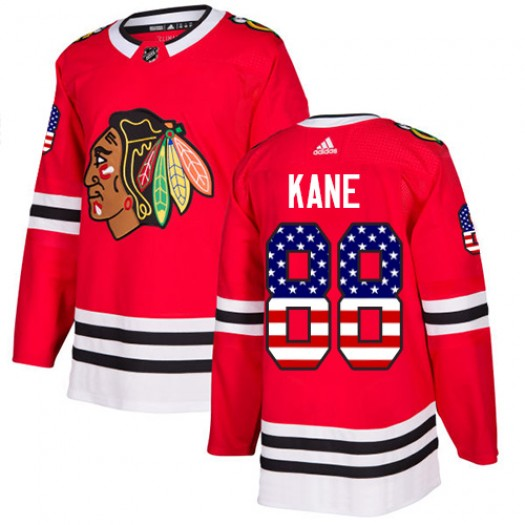 Patrick Kane Chicago Blackhawks Men's Adidas Authentic Red USA Flag Fashion Jersey