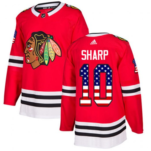 Patrick Sharp Chicago Blackhawks Youth Adidas Authentic Red USA Flag Fashion Jersey