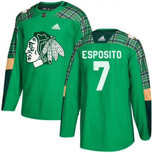 Phil Esposito Chicago Blackhawks Men's Adidas Authentic Green St. Patrick's Day Practice Jersey