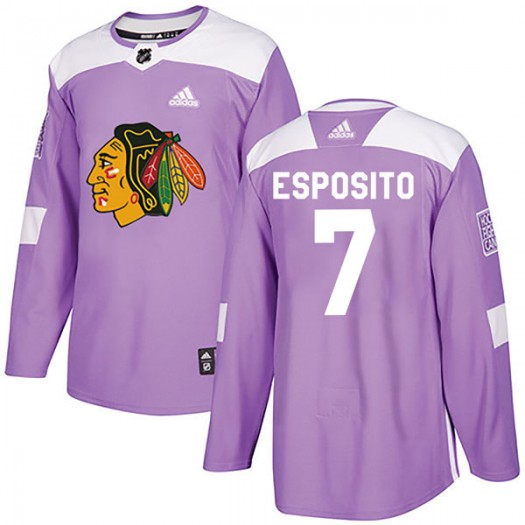 Phil Esposito Chicago Blackhawks Men's Adidas Authentic Purple Fights Cancer Practice Jersey