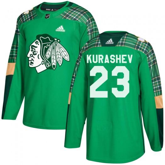 Philipp Kurashev Chicago Blackhawks Men's Adidas Authentic Green St. Patrick's Day Practice Jersey
