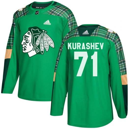 Philipp Kurashev Chicago Blackhawks Men's Adidas Authentic Green ized St. Patrick's Day Practice Jersey
