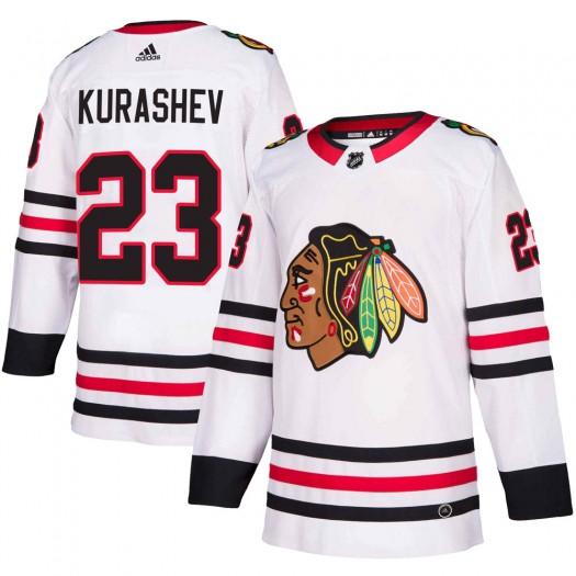 Philipp Kurashev Chicago Blackhawks Men's Adidas Authentic White Away Jersey