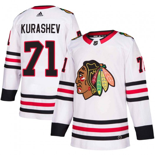 Philipp Kurashev Chicago Blackhawks Men's Adidas Authentic White ized Away Jersey