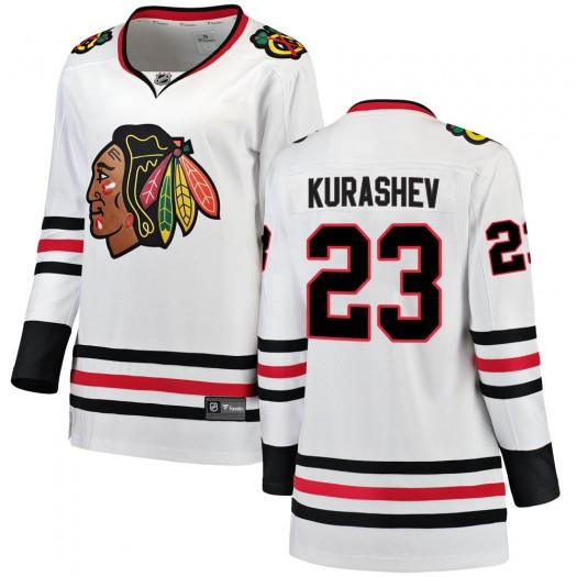 Philipp Kurashev Chicago Blackhawks Women's Fanatics Branded White Breakaway Away Jersey