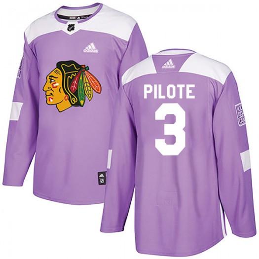 Pierre Pilote Chicago Blackhawks Men's Adidas Authentic Purple Fights Cancer Practice Jersey