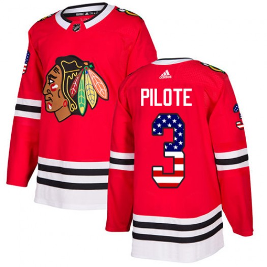 Pierre Pilote Chicago Blackhawks Men's Adidas Authentic Red USA Flag Fashion Jersey