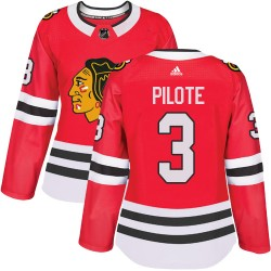 Pierre Pilote Chicago Blackhawks Women's Adidas Authentic Red Home Jersey