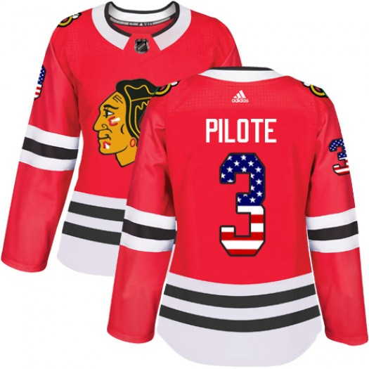 Pierre Pilote Chicago Blackhawks Women's Adidas Authentic Red USA Flag Fashion Jersey