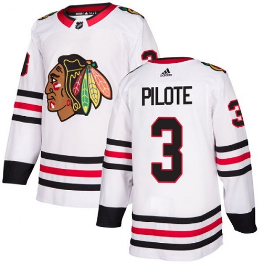 Pierre Pilote Chicago Blackhawks Women's Adidas Authentic White Away Jersey