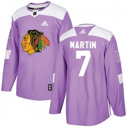 Pit Martin Chicago Blackhawks Youth Adidas Authentic Purple Fights Cancer Practice Jersey