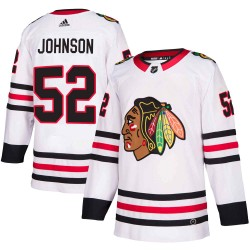 Reese Johnson Chicago Blackhawks Men's Adidas Authentic White Away Jersey