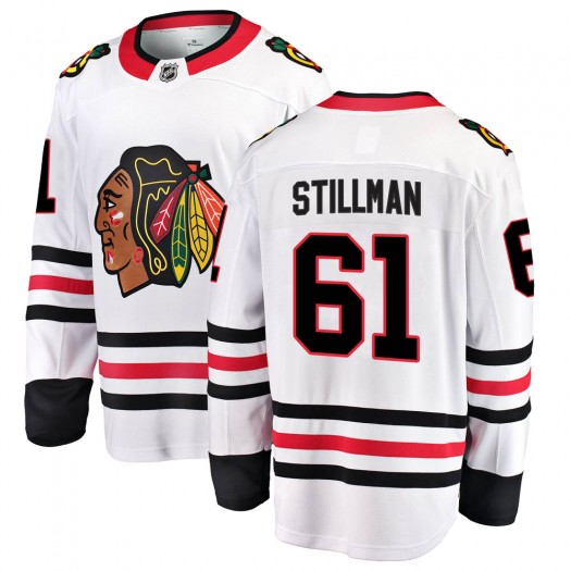 Riley Stillman Chicago Blackhawks Men's Fanatics Branded White Breakaway Away Jersey