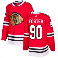 Scott Foster Chicago Blackhawks Men's Adidas Authentic Red Home Jersey