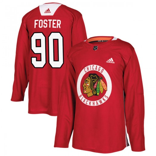 Scott Foster Chicago Blackhawks Men's Adidas Authentic Red Home Practice Jersey