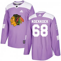 Slater Koekkoek Chicago Blackhawks Men's Adidas Authentic Purple Fights Cancer Practice Jersey