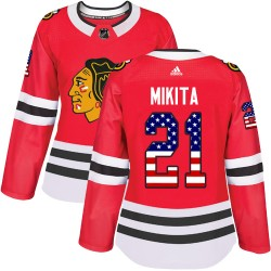 Stan Mikita Chicago Blackhawks Women's Adidas Authentic Red USA Flag Fashion Jersey