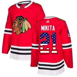 Stan Mikita Chicago Blackhawks Youth Adidas Authentic Red USA Flag Fashion Jersey
