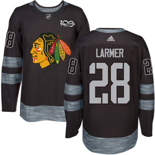 Steve Larmer Chicago Blackhawks Men's Adidas Authentic Black 1917-2017 100th Anniversary Jersey