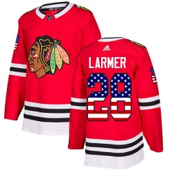 Steve Larmer Chicago Blackhawks Men's Adidas Authentic Red USA Flag Fashion Jersey