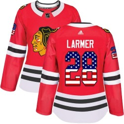 Steve Larmer Chicago Blackhawks Women's Adidas Authentic Red USA Flag Fashion Jersey