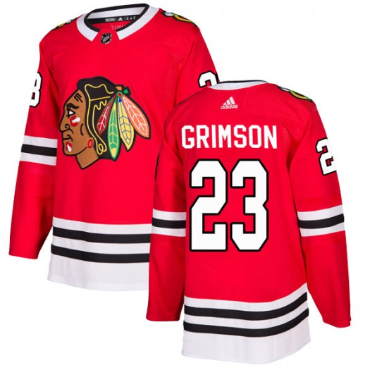 Stu Grimson Chicago Blackhawks Men's Adidas Authentic Red Home Jersey