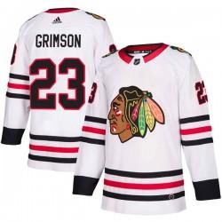 Stu Grimson Chicago Blackhawks Men's Adidas Authentic White Away Jersey