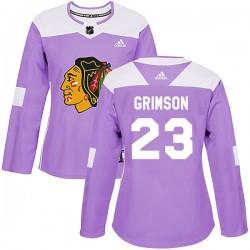 Stu Grimson Chicago Blackhawks Women's Adidas Authentic Purple Fights Cancer Practice Jersey