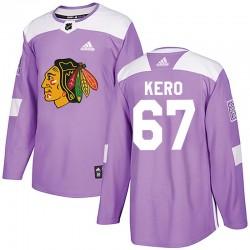 Tanner Kero Chicago Blackhawks Men's Adidas Authentic Purple Fights Cancer Practice Jersey