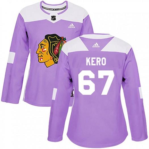 Tanner Kero Chicago Blackhawks Women's Adidas Authentic Purple Fights Cancer Practice Jersey