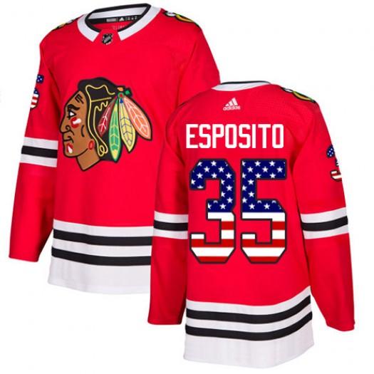 Tony Esposito Chicago Blackhawks Men's Adidas Authentic Red USA Flag Fashion Jersey