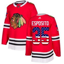 Tony Esposito Chicago Blackhawks Youth Adidas Authentic Red USA Flag Fashion Jersey