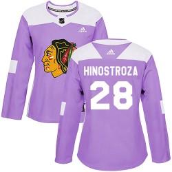 Vinnie Hinostroza Chicago Blackhawks Women's Adidas Authentic Purple Fights Cancer Practice Jersey
