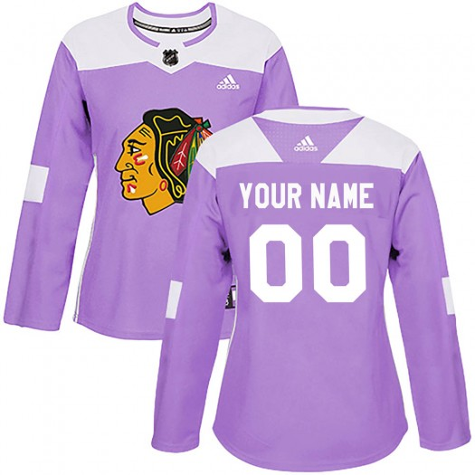 Women's Adidas Chicago Blackhawks Customized Authentic Purple Fights Cancer Practice Jersey
