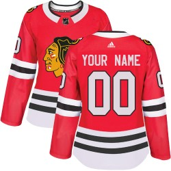 Women's Adidas Chicago Blackhawks Customized Authentic Red Home Jersey
