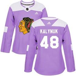 Wyatt Kalynuk Chicago Blackhawks Women's Adidas Authentic Purple Fights Cancer Practice Jersey