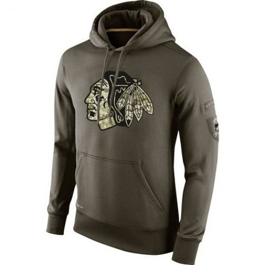 Chicago Blackhawks Men's Nike Olive Salute To Service KO Performance Hoodie