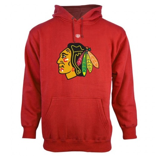 Chicago Blackhawks Men's Red Old Time Hockey Big Logo with Crest Pullover Hoodie ¨C