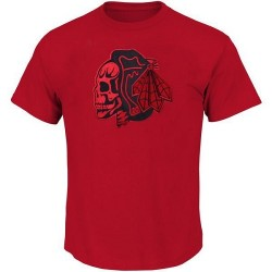 Chicago Blackhawks Men's Red T-Shirts/ Skull