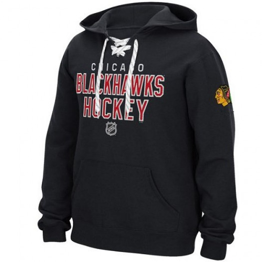 Chicago Blackhawks Men's Reebok Black Stitch Em Up Lace Hoodie