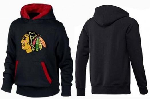 Chicago Blackhawks Men's Black/Red Big & Tall Logo Pullover Hoodie